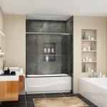 Shop Semi Frameless Double Sliding Door Shower Enclosure Clear Glass Brushed Nickel Overstock 30636953