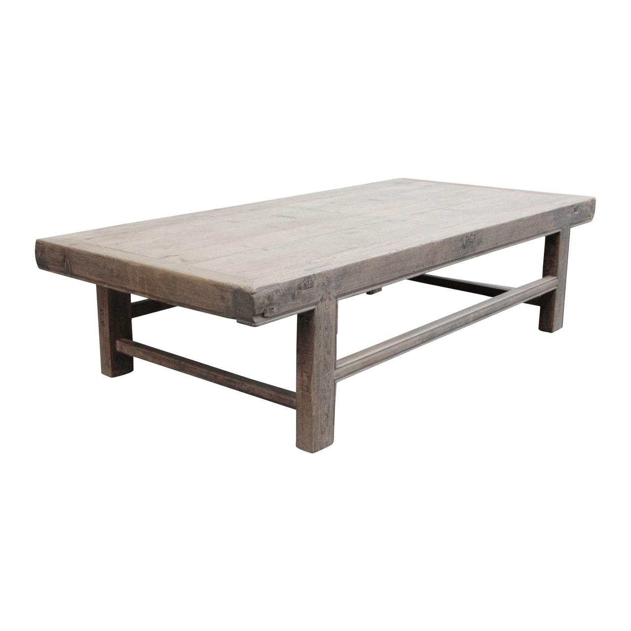 large vintage coffee table w regular top about 6 8 feet long weathered natural wood finish size and color vary