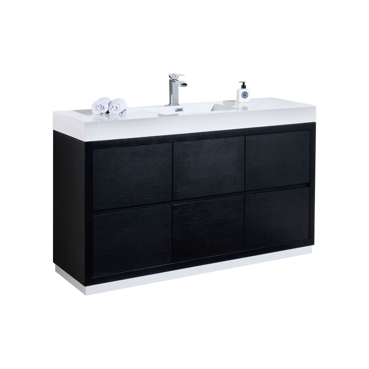 Shop Bliss 60 Single Sink Black Free Standing Modern Bathroom Vanity Overstock 30766787