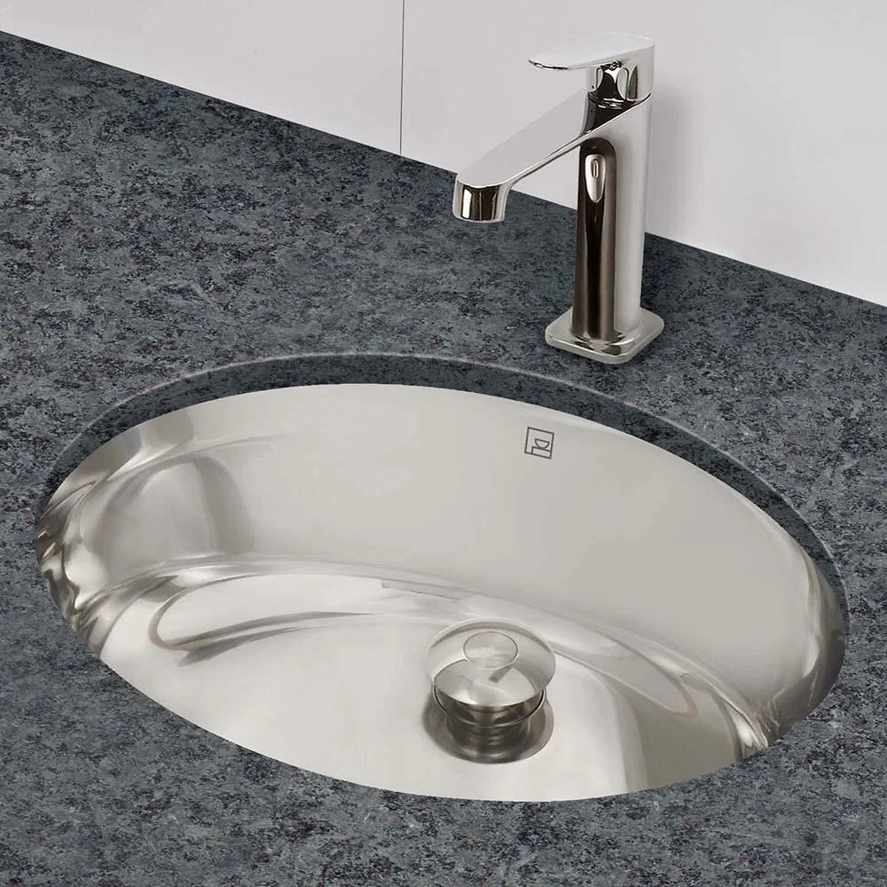taji oval undermount brushed stainless steel bathroom sink with overflow