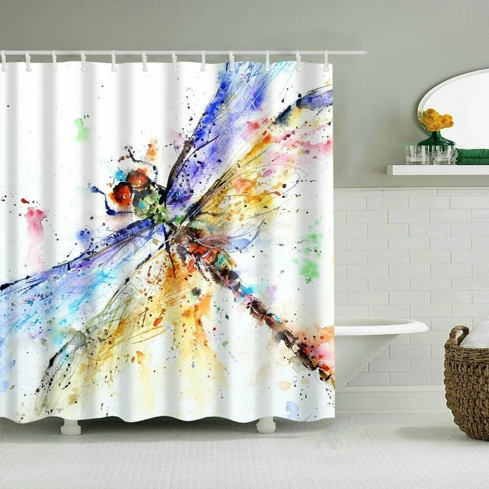 polyester shower curtain with hooks color dragonfly 72 x 72