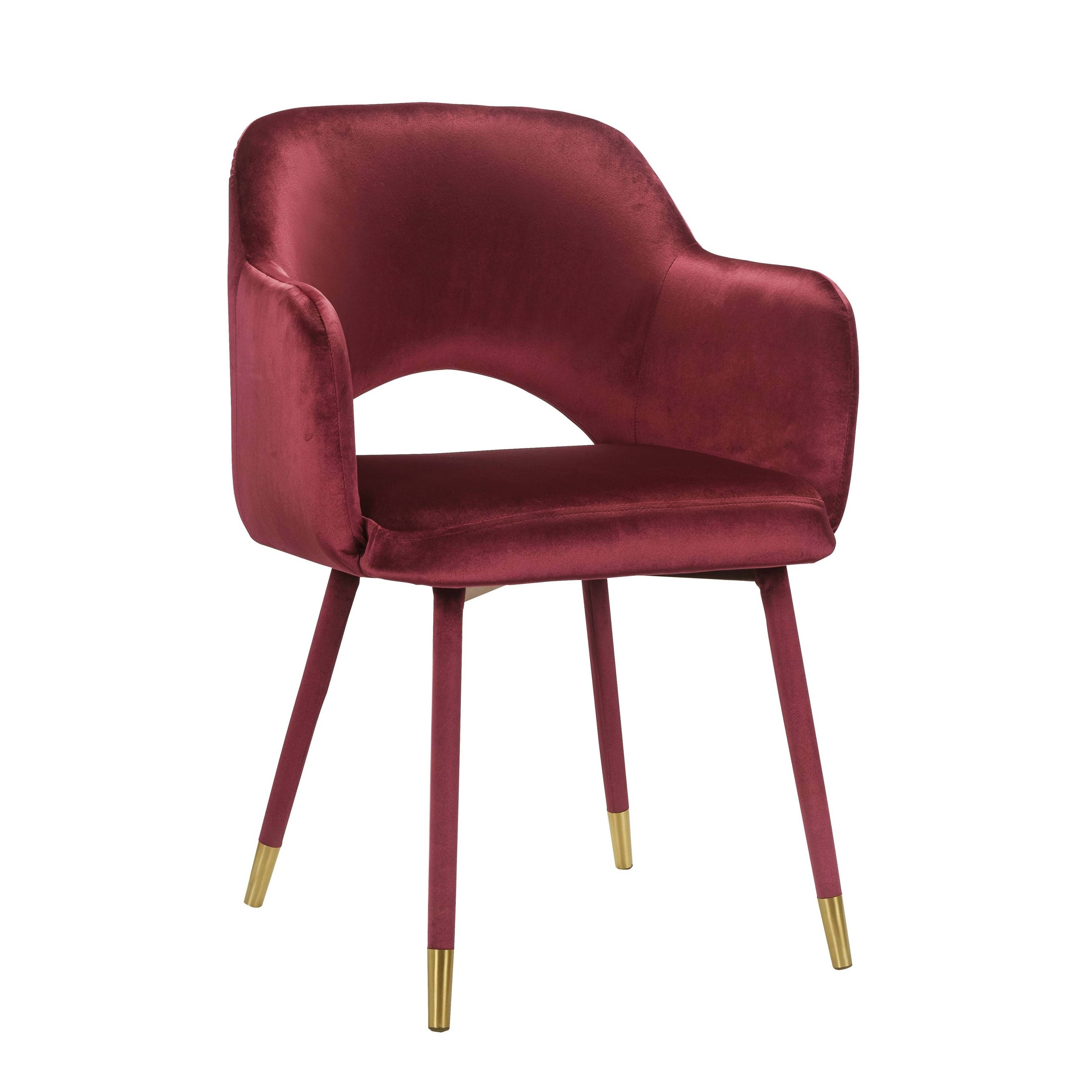 Shop Black Friday Deals On Acme Applewood Accent Chair In Bordeaux Red Velvet Gold Overstock 30876319