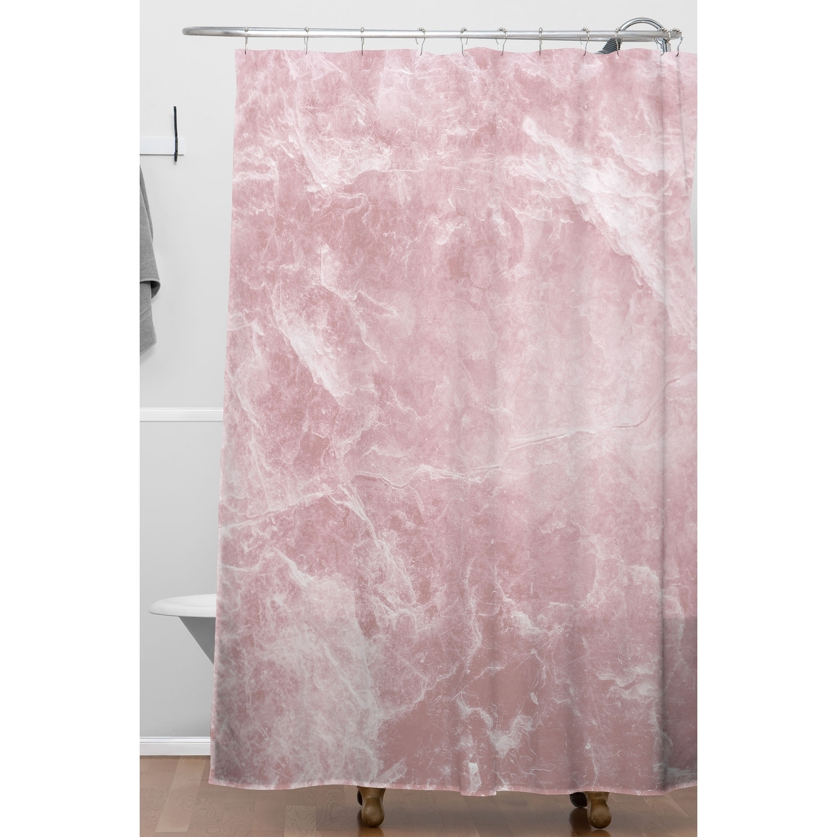 deny designs enigmatic blush pink marble shower curtain