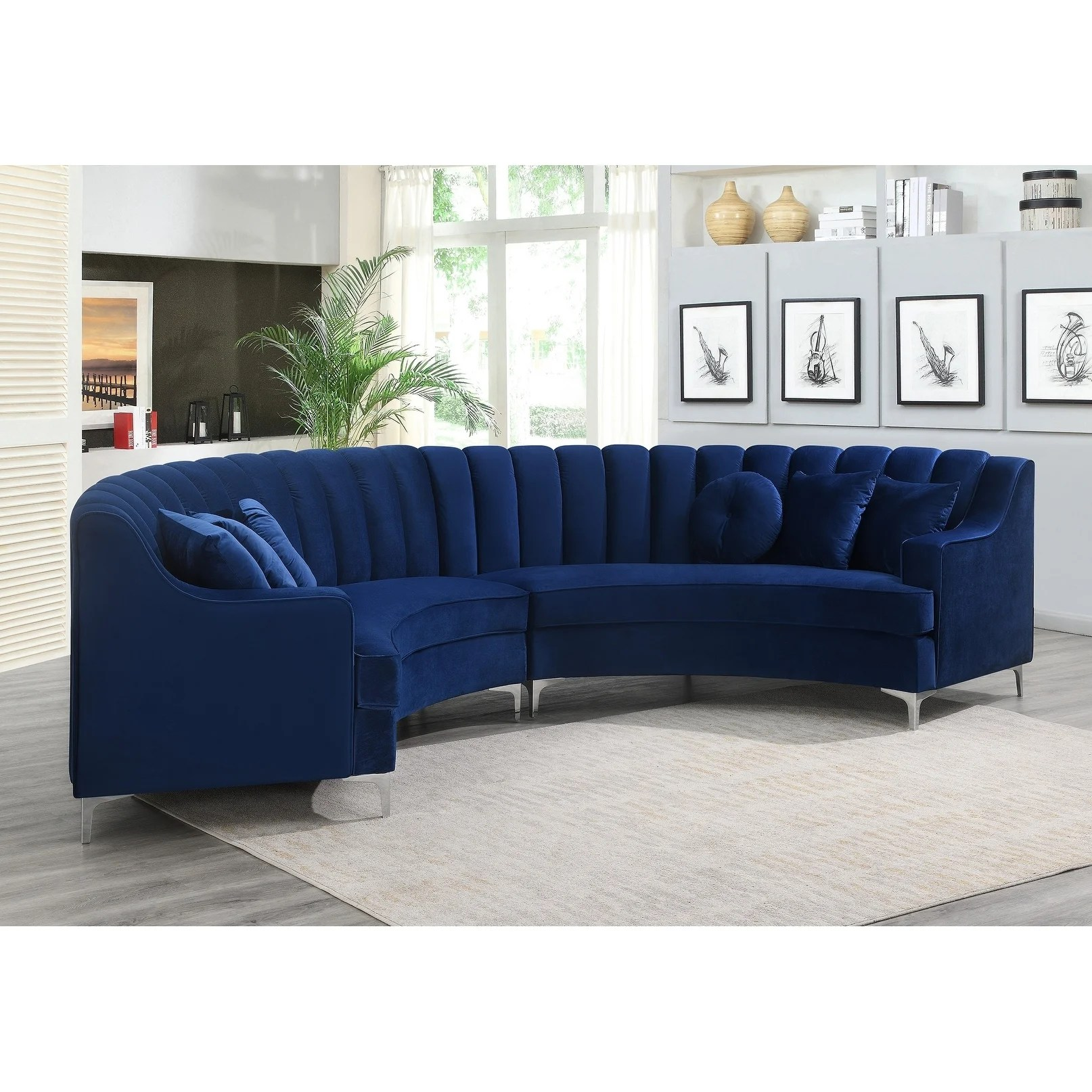 semi circular velvet sectional sofa