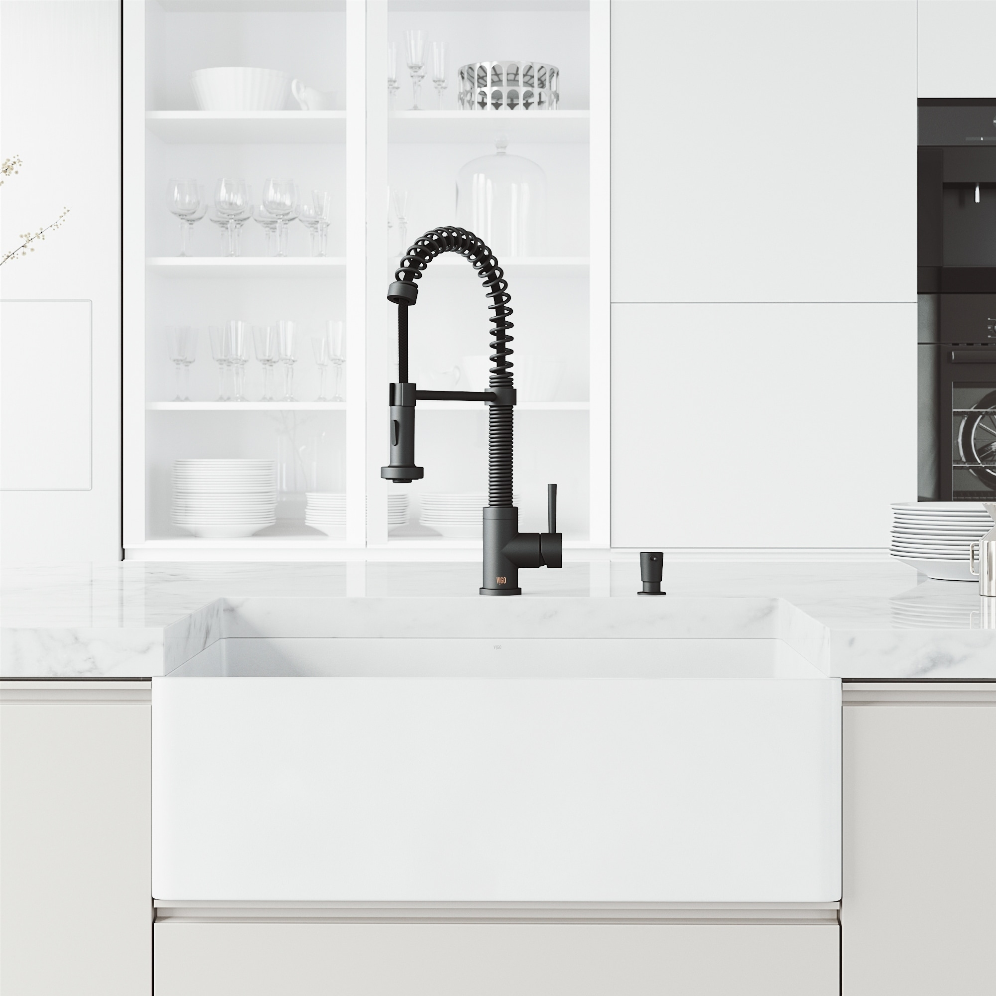 vigo matte stone 30 matte stone kitchen sink with faucet in matte black