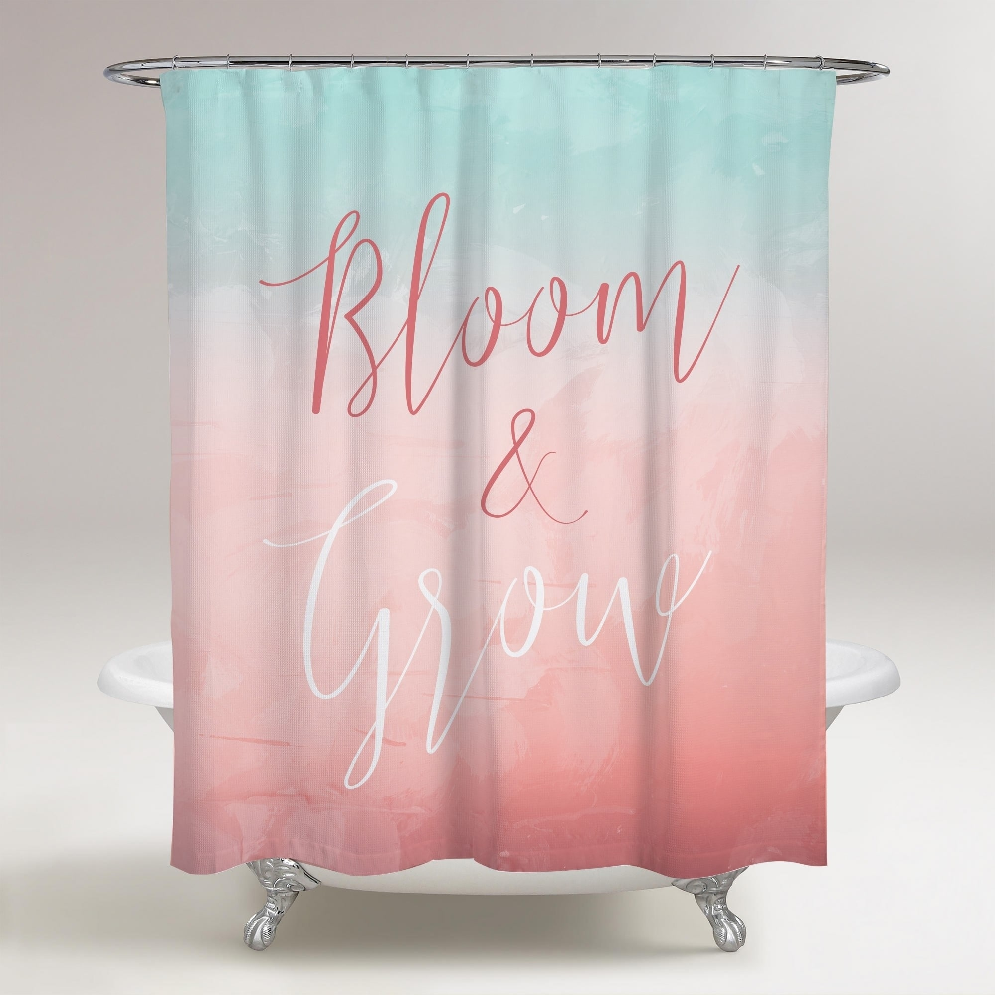 oliver gal bloom and grow pastel typography and quotes decorative shower curtain beauty quotes and sayings pink blue