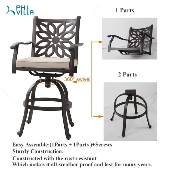 https www overstock com home garden phi villa extra wide outdoor patio pub height swivel bar stools cast aluminum arms chairs set of 2 with seat cushion 31095811 product html