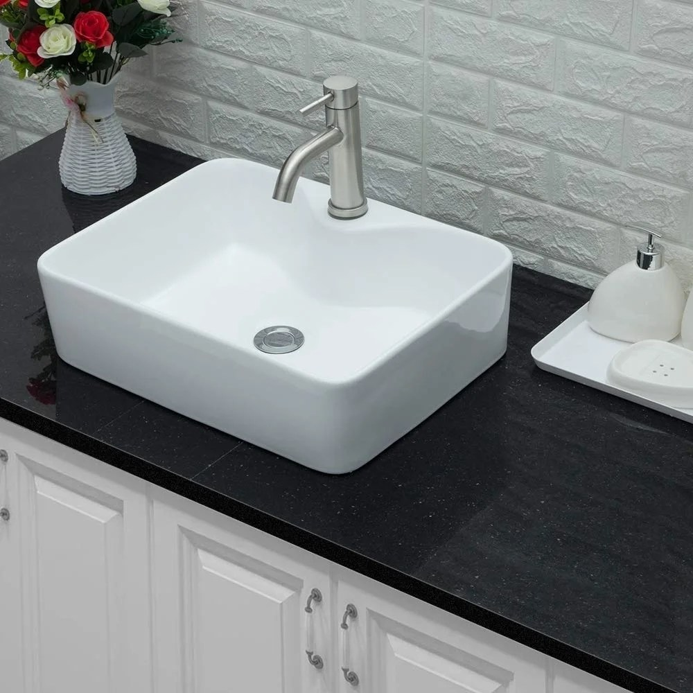 rectangle ceramic bathroom vessel sink with faucet hole