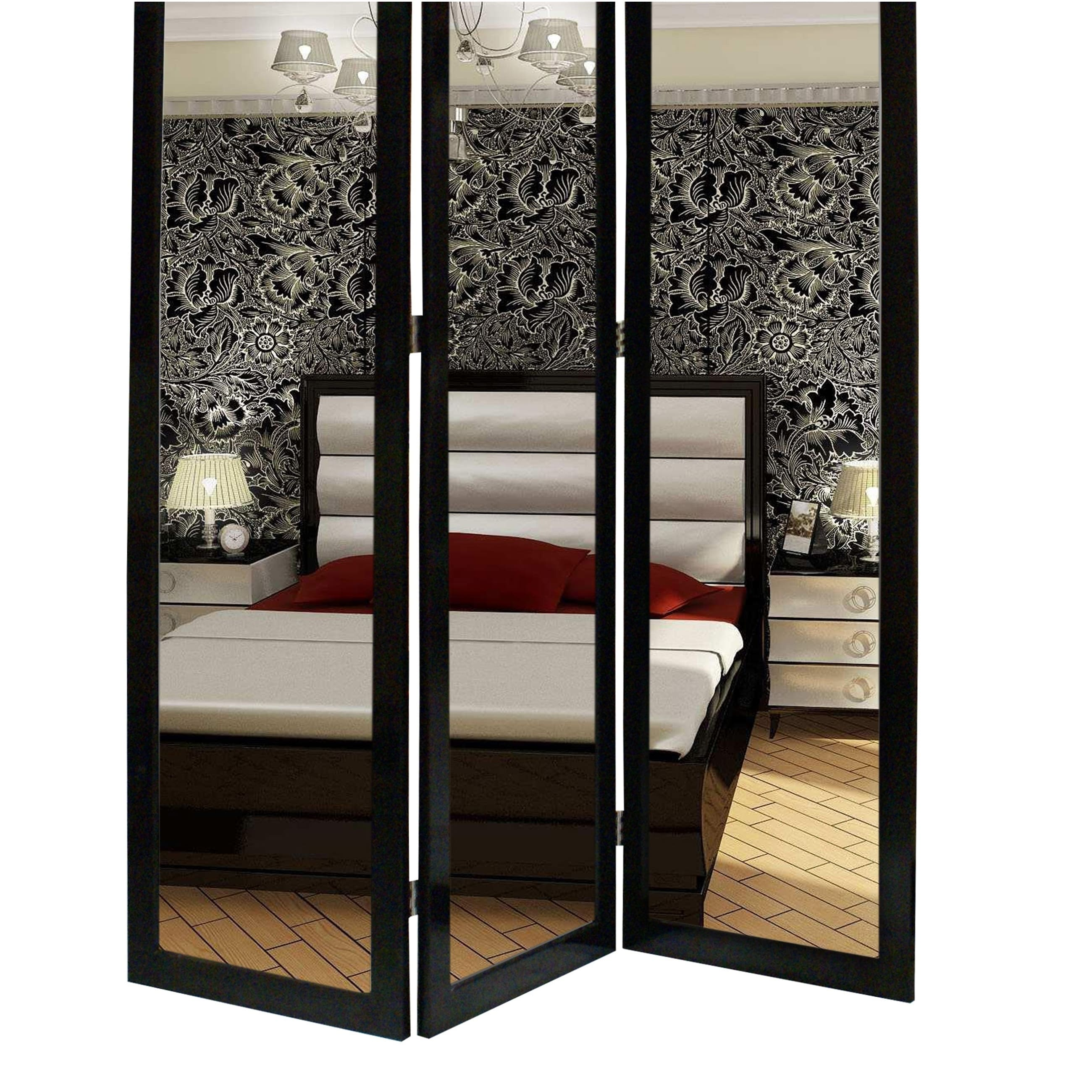 3 Panel Wooden Foldable Mirror Encasing Room Divider Black And Silver On Sale Overstock 31224434