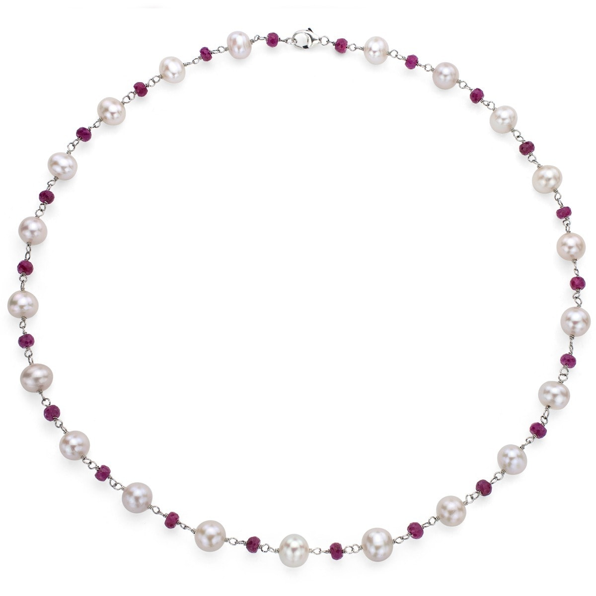 Davonna Sterling Silver Freshwater Pearl And Ruby Necklace