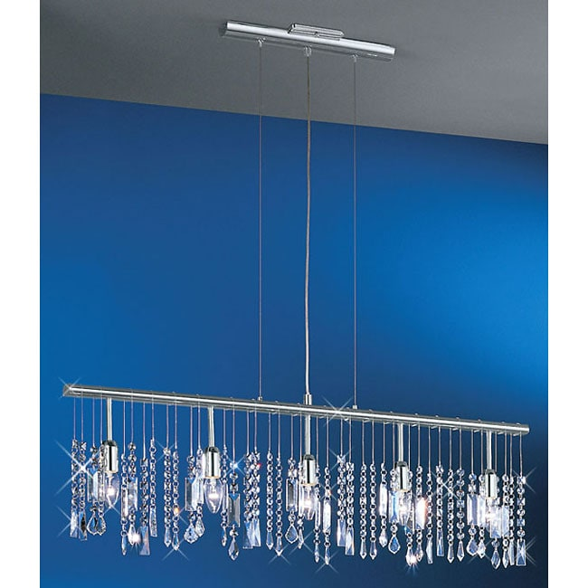 Linear 5 Light 38 Inch Bar Pendant Crystal Chandelier