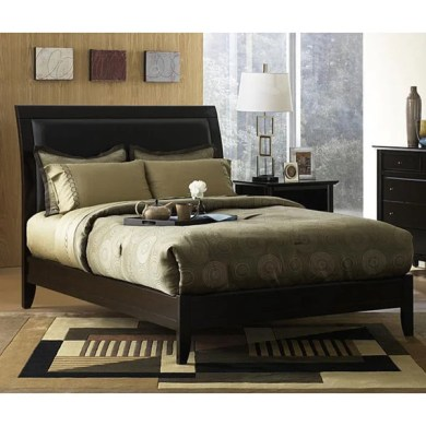 Shop Padded Synthetic Leather King size Sleigh Bed   Free Shipping     Padded Synthetic Leather King size Sleigh Bed
