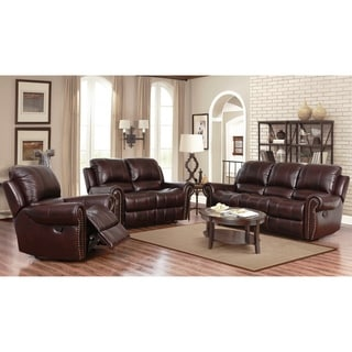 Buy Living Room Furniture Sets Online at Overstock com   Our Best     Abbyson Broadway Top Grain Leather Reclining 3 Piece Living Room Set