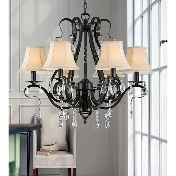 Black Iron 6 Light Crystal Chandelier