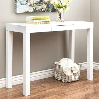 Buy Sofa Tables Online at Overstock com   Our Best Living Room     Clay Alder Home Lachlan Glossy White Sofa Table