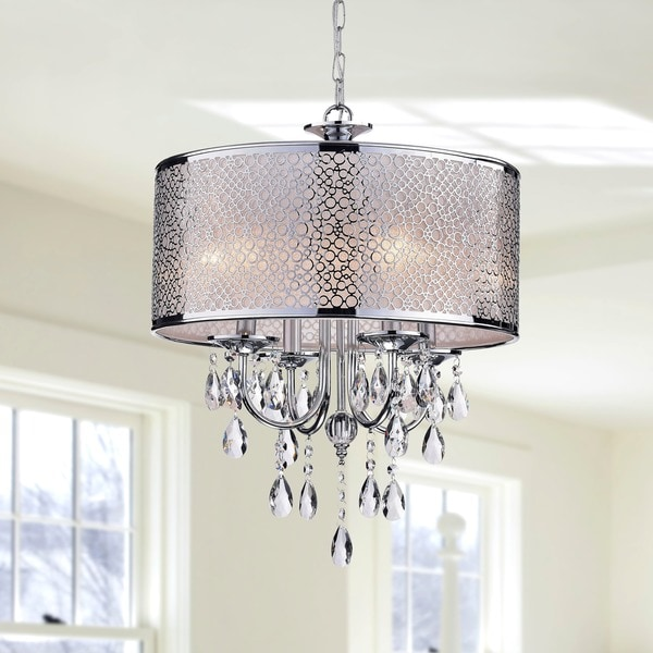 Indoor 4 Light Chrome Crystal White Shades Chandelier
