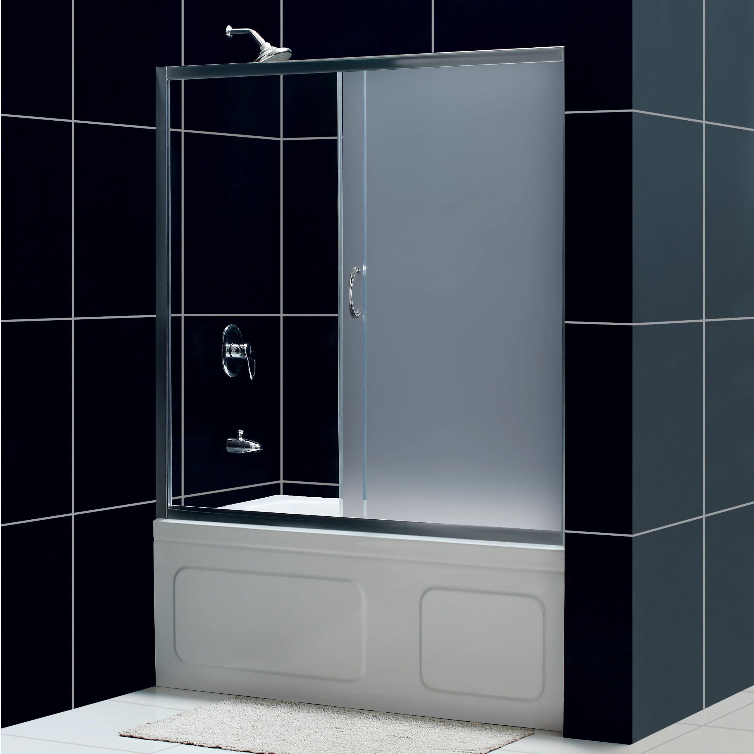 Dreamline Infinity 60 Inch Frosted Glass Tub Sliding Shower Door