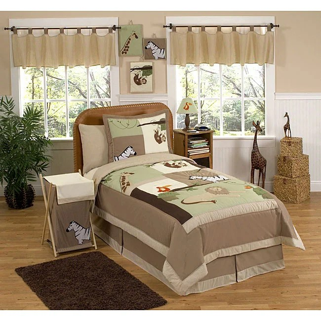 jungle adventure animal safari 4 piece boy s twin size bedding set