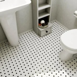 Shop SomerTile 10 25x11 75 inch Victorian Hex White with Black Dot     SomerTile 9 75x11 5 inch Victorian Penny White and Black Dot Porcelain Mosaic  Floor
