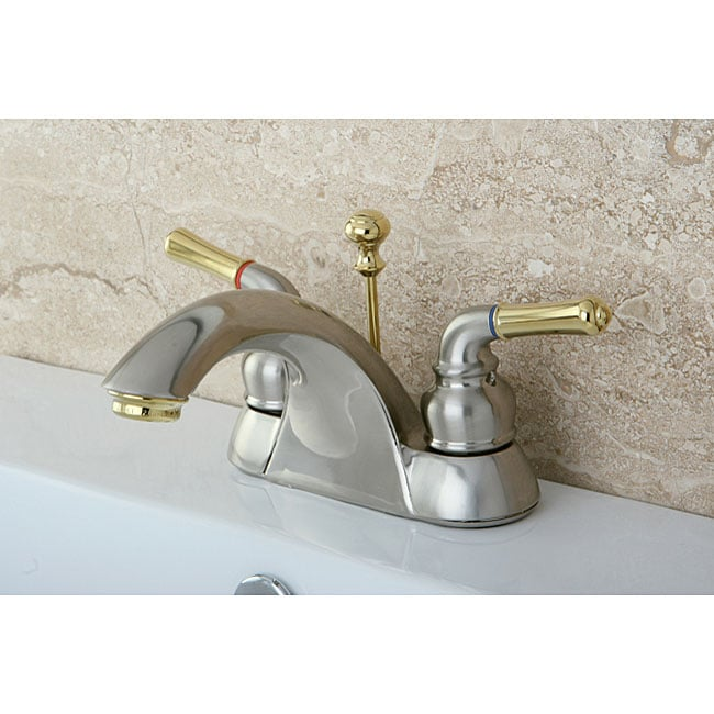 naples satin nickel/ polished brass bathroom faucet - free