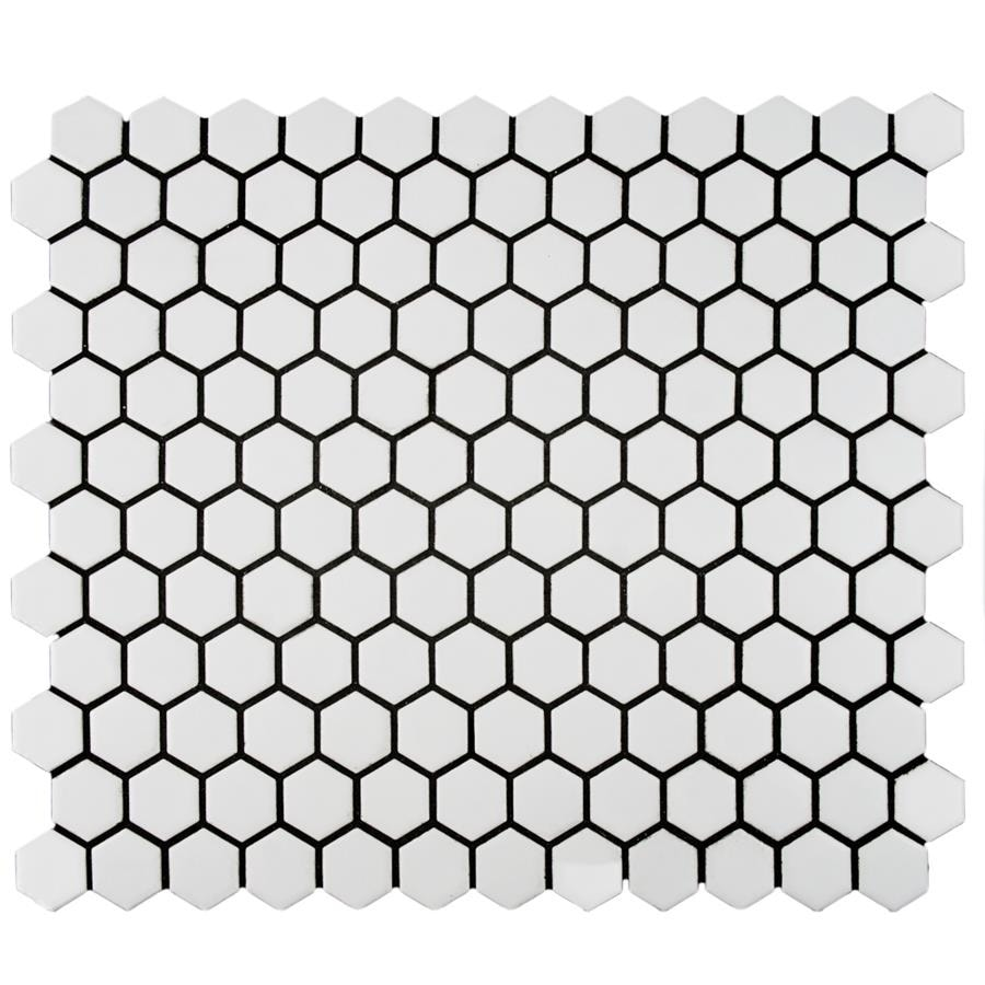 somertile 10 25x11 88 inch victorian hex matte white porcelain mosaic floor and wall tile