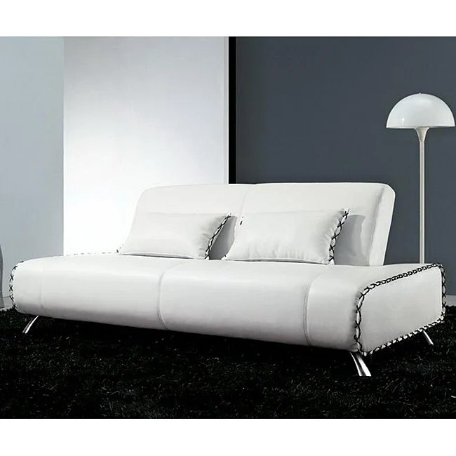 Furniture Of America Lucas White Bonded Leather Sleeper Sofa Bed