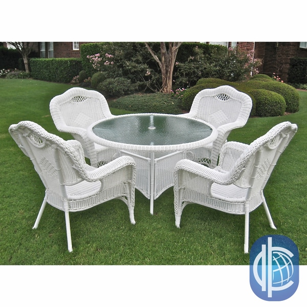 outdoor wicker furniture 5 piece patio set International Caravan Resin Wicker Outdoor 5-piece Dining