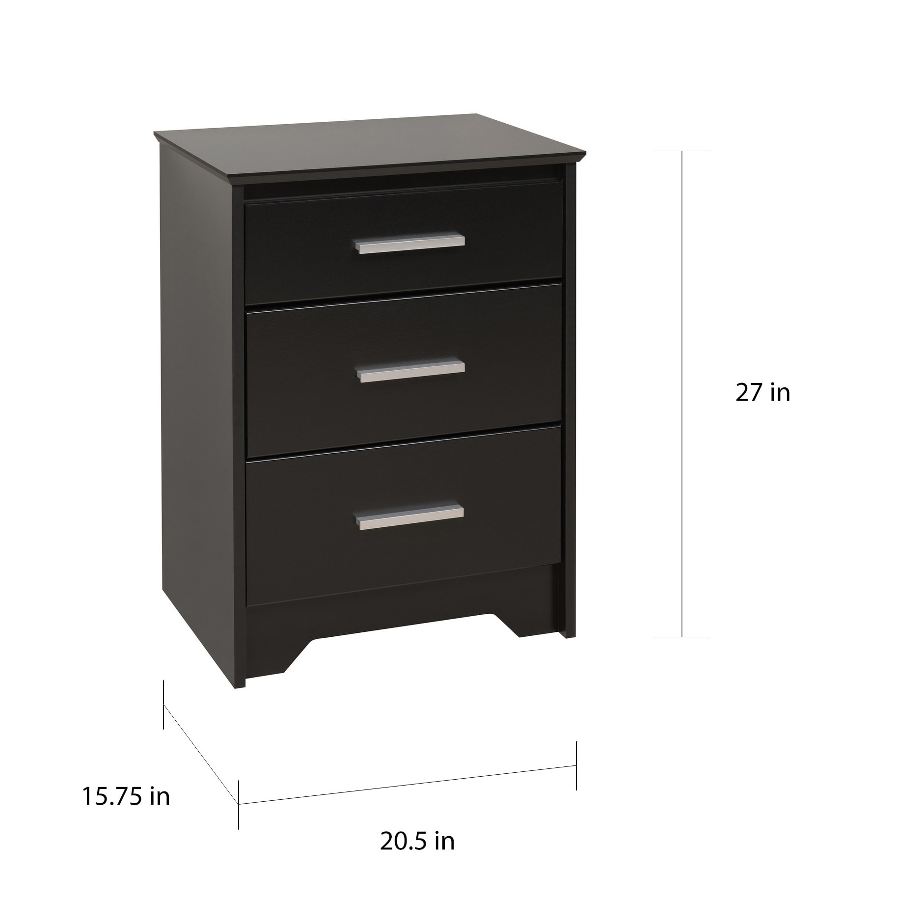 Yaletown Tall Black 3 Drawer Night Stand