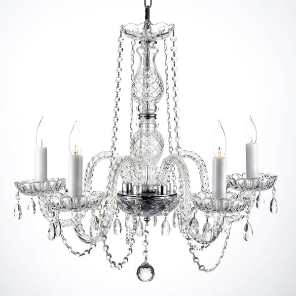 Gallery Venetian Style All Crystal 5 Light Chandelier