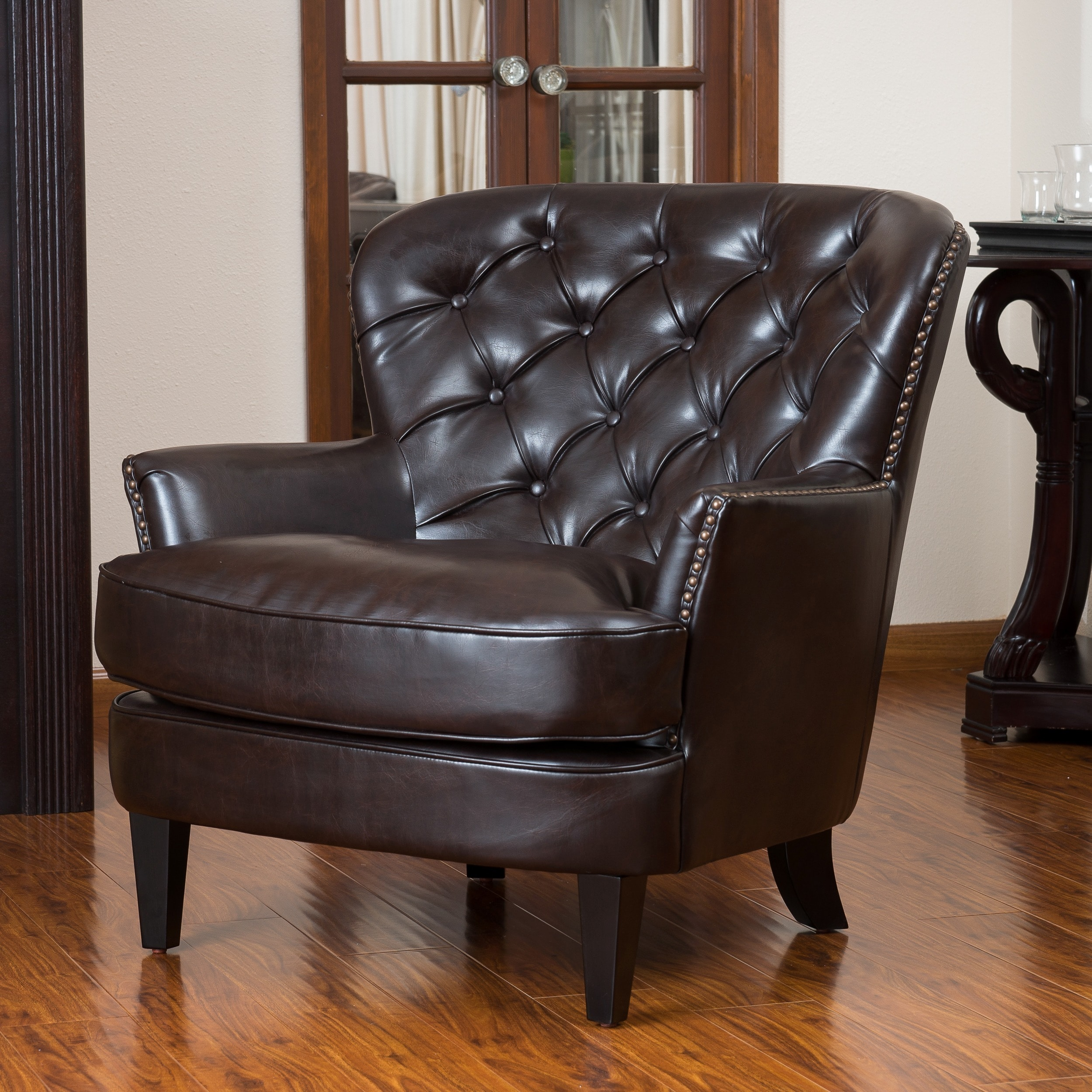 tafton oversized brown leather tufted club chair by christopher knight home