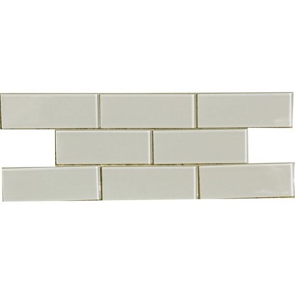 Shop Smoke 3x8 Inch Shiny Glass Tiles Case Of 67 Free