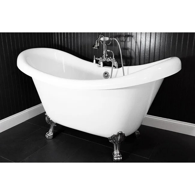 Shop Spa Collection 73 Inch Double Slipper Clawfoot Tub And Faucet Pack Free Shipping Today