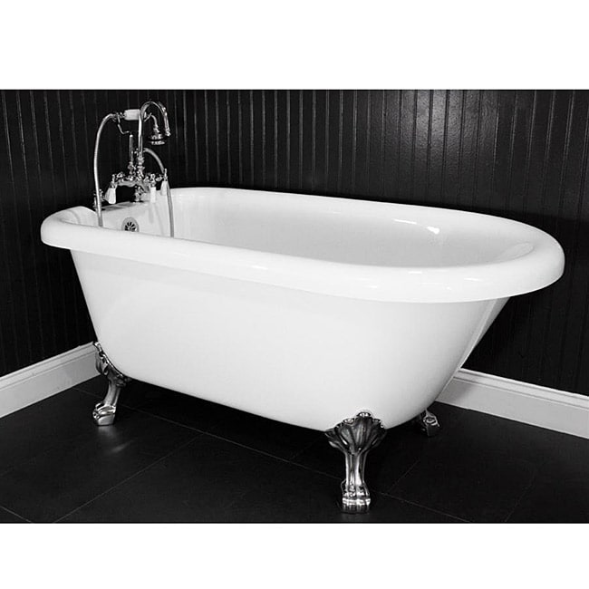 Shop Spa Collection 59 Inch Classic Style Clawfoot Tub And Faucet Pack Free Shipping Today