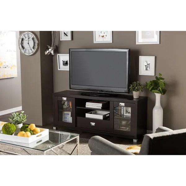 Baxton Studio Matlock Modern Glass Door Dark Brown TV Stand