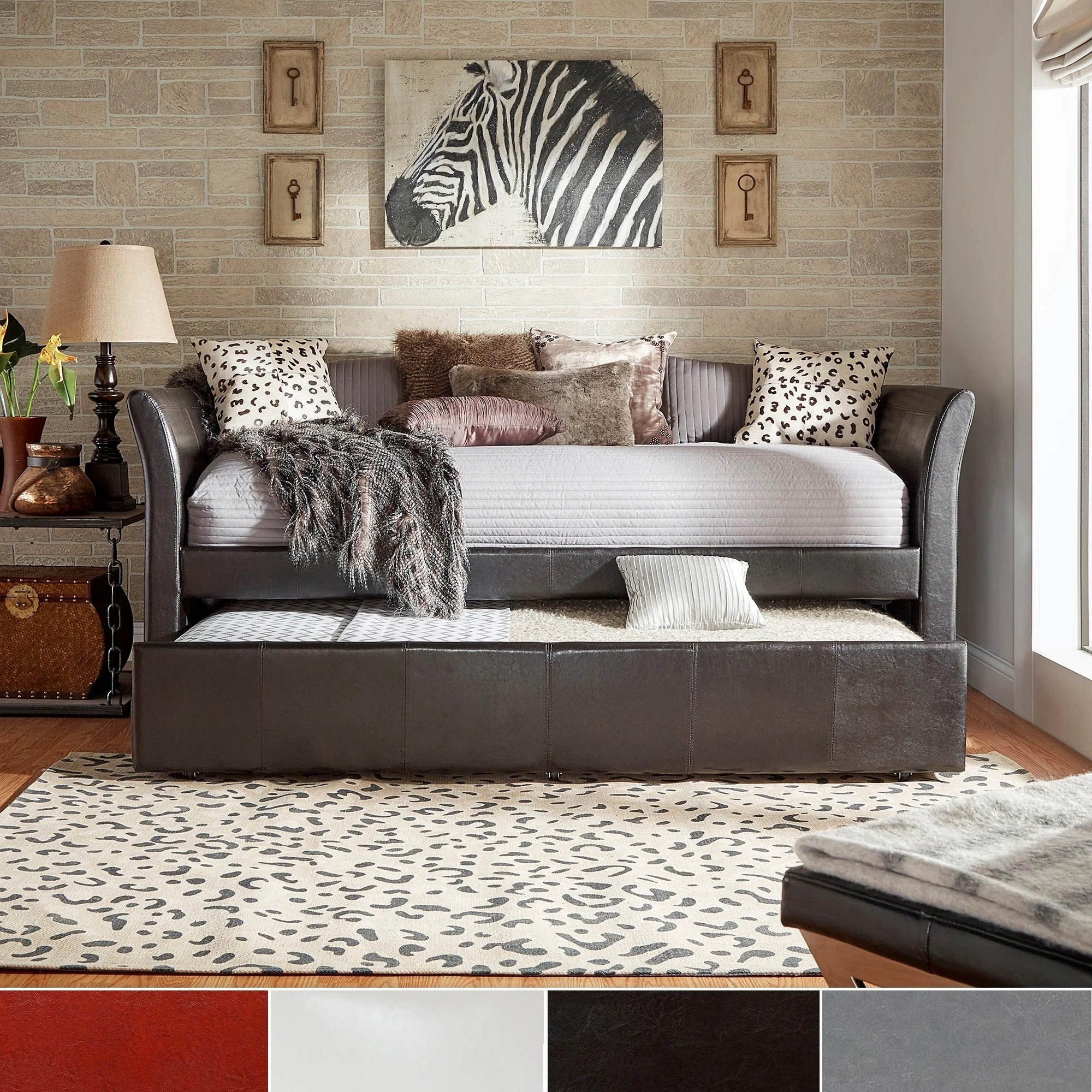 Deco Faux Leather Daybed And Trundle By Inspire Q Bold Overstock 6265725