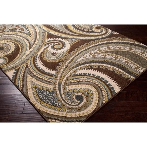 Meticulously Woven Contemporary BrownGreen Paisley Floral