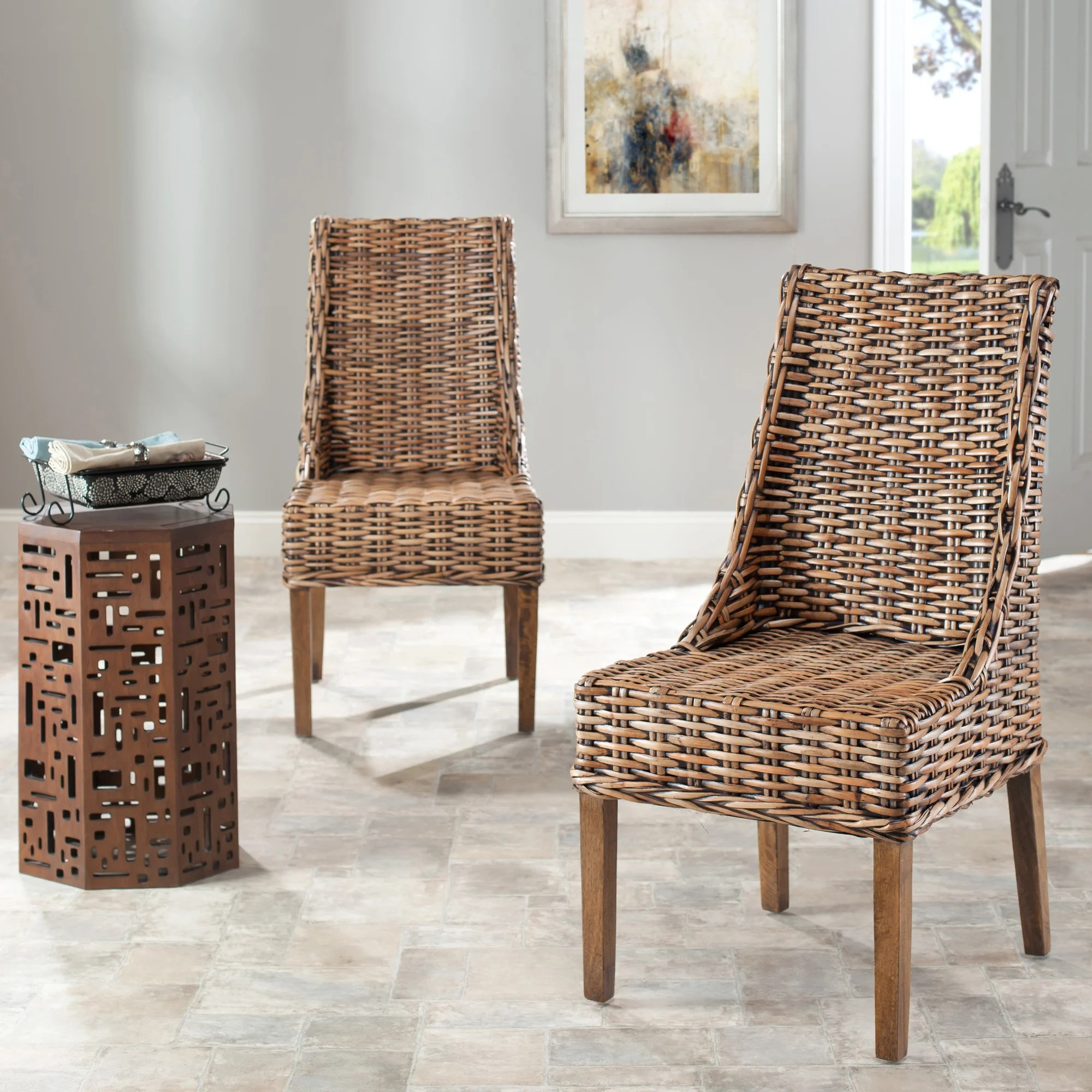 Safavieh Dining Rural Woven St Thomas Indoor Wicker Brown Sloping Arm Chairs Set Of 2