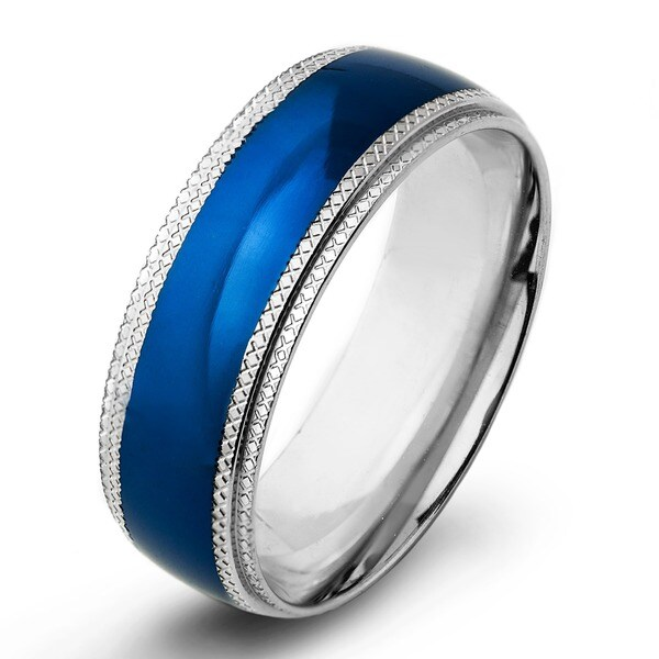 Blue Plated Stainless Steel Mens Ridged Edge Wedding Band