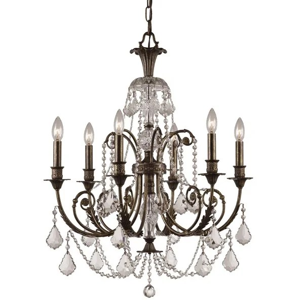 Crystorama Regis Collection 6 Light English Bronze Crystal Chandelier