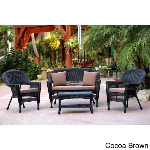 outdoor wicker patio conversation sets Black Wicker 4-piece Patio Conversation Set - Overstock