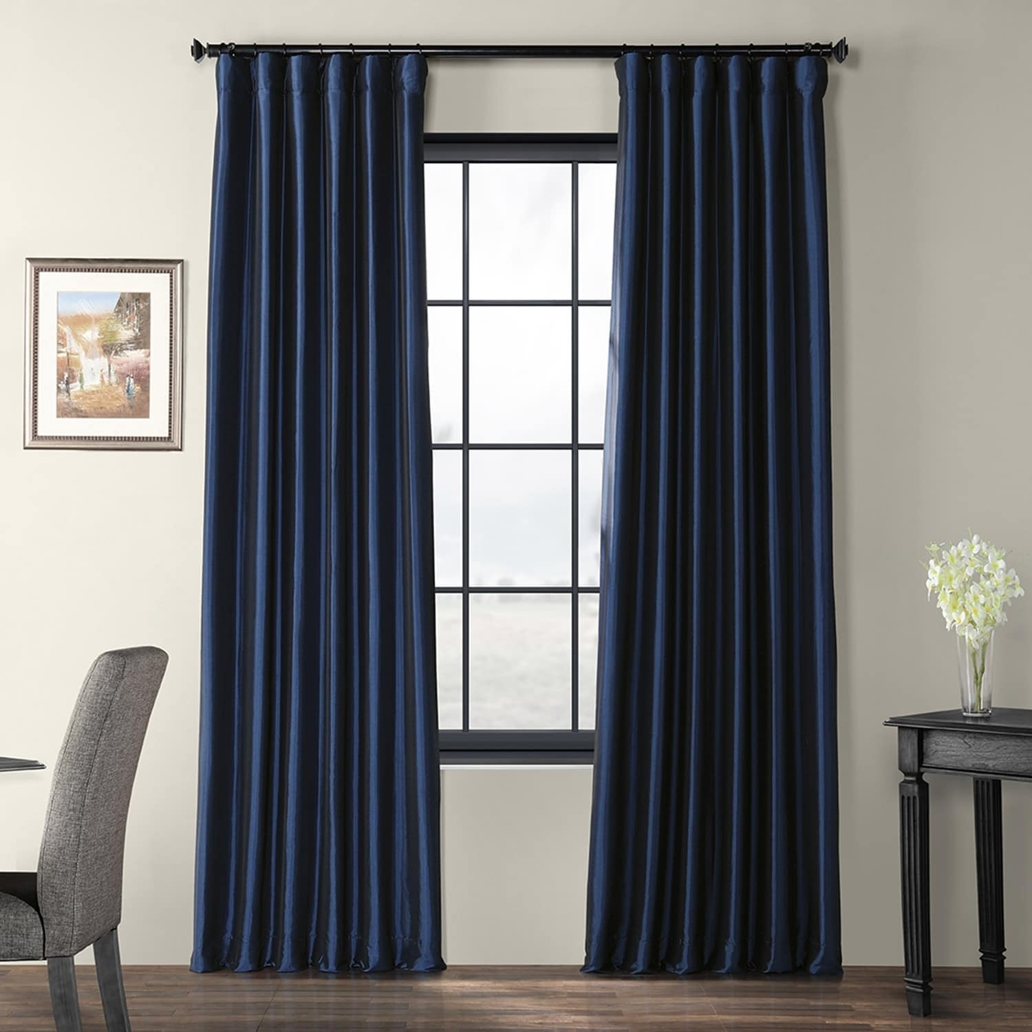 Exclusive Fabrics Solid Faux Silk Taffeta Navy Blue Curtain Panel