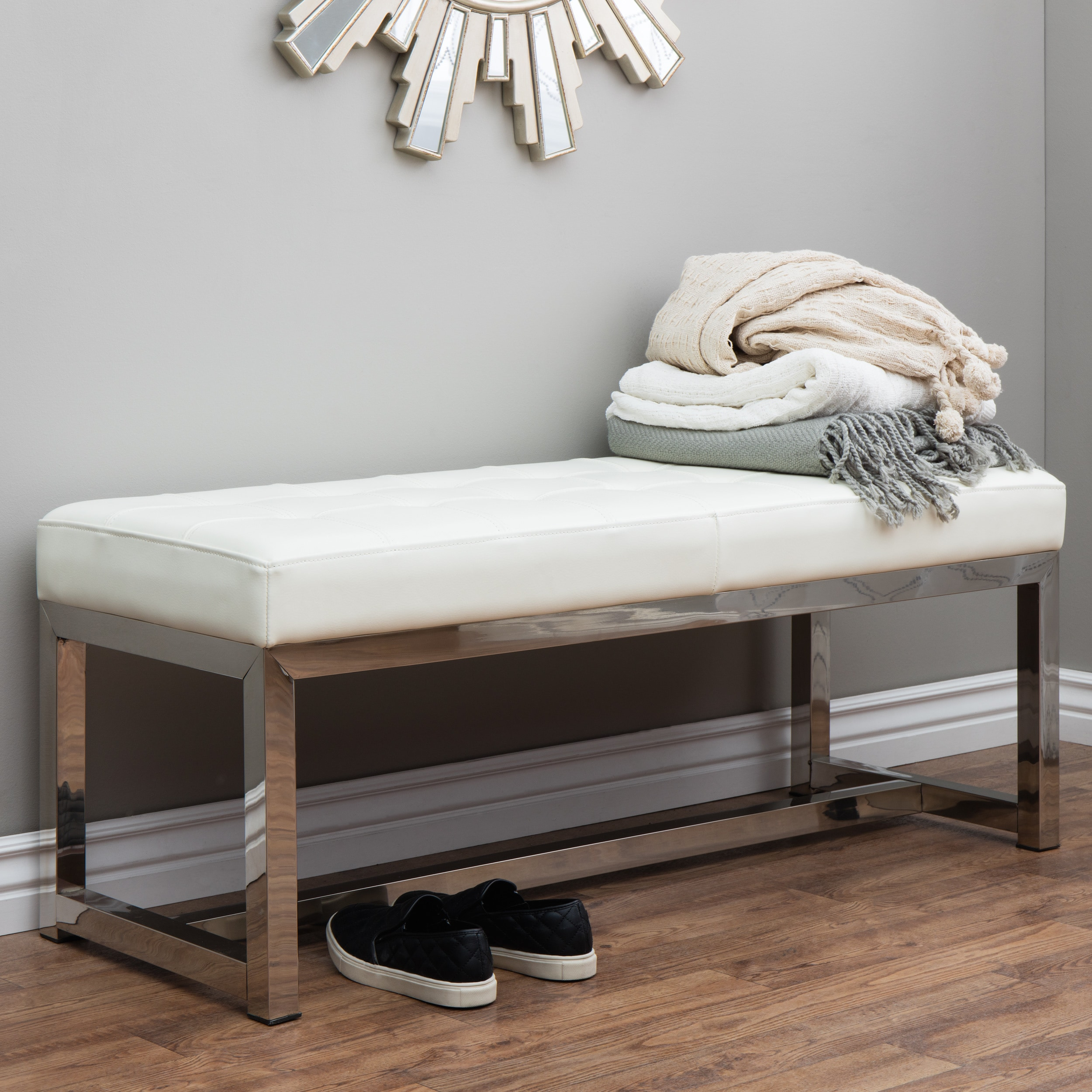 strick bolton liberty modern white leather bench