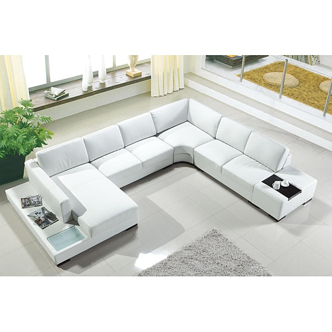 artistant house 4 piece white leather sectional