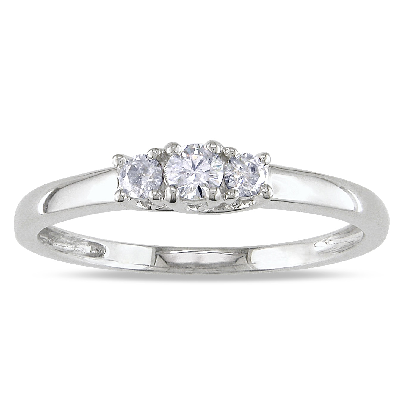14k White Gold 1 4ct Tdw Diamond Three Stone Ring