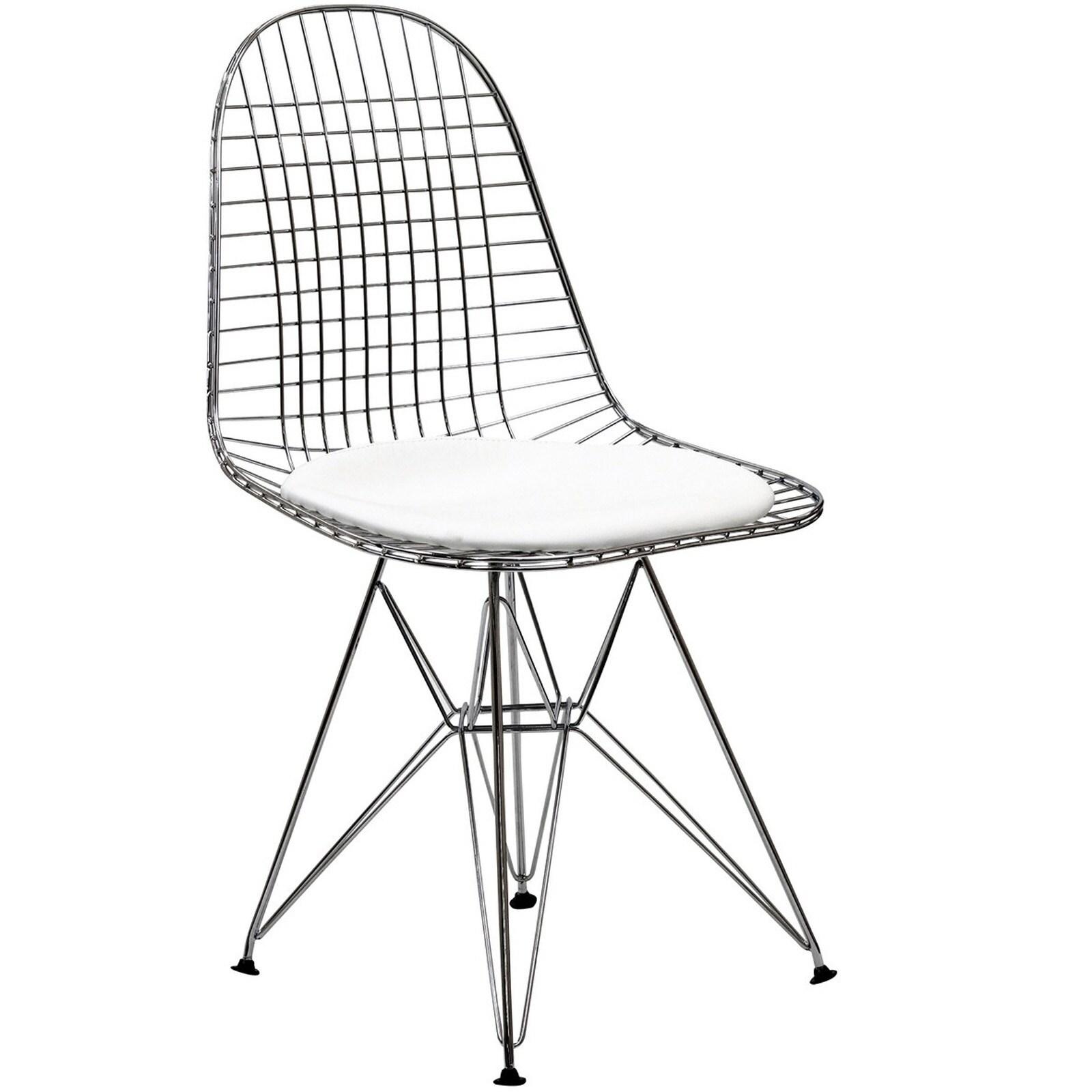 Wire Tower White Vinyl Cushiondining Chair
