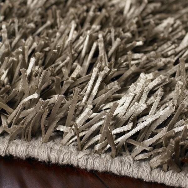 Shop Hand Woven Grey Shine Soft Plush Shag Area Rug 26