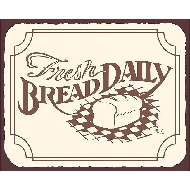 Bread Daily Bakery Wall Decor Vintage Metal Art Kitchen Retro Tin Sign
