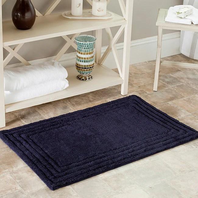 safavieh spa 2400 gram luxury navy 27 x 45 bath rug (set of 2