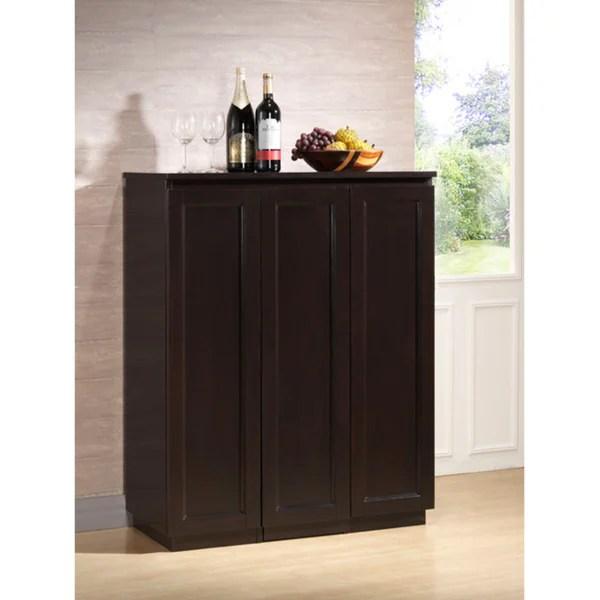 Traditional Dark Brown Wood Wine Cabinet By Baxton Studio