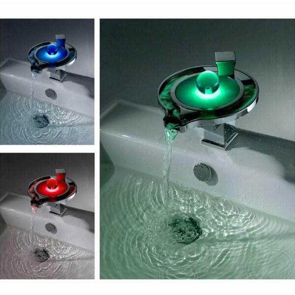 led thermal waterfall bathroom sink faucet